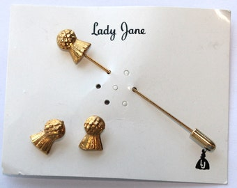 1960s Stick Pin and Earring Set // 50s 60s  Vintage Stickpin // NOS // Earrings // Matching