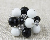 OUT OF TOWN - Bold Black White Stone Crystal Adjustable Cluster Ring - Faceted Black Onyx White Agate Crystal Stone Silver Big Cocktail Ring