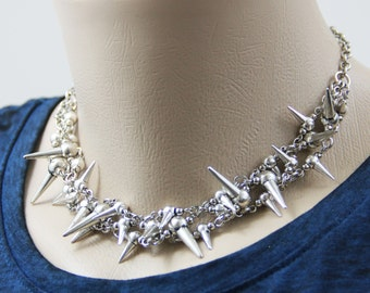 Live By Own Rules - Bold Metallic Silver Spike Statement Choker Spiky Spiked Modern Edgy Moto Statement Neutral Necklace