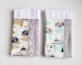 Woodland Baby BurpCloths - Teepees Grey Aqua / Baby Boy Burp  Cloths / Premium Cloth Diaper Prefolds