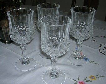 """4 Cris D'Arques/Durand Crystal Clear Water Goblet Glasses 8 Ounces Longchamp Pattern 7 1/4"""" Tall"""
