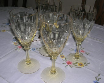 4 Vintage Heisey Crystal Glass Old Dominion Sahara Yellow Water Goblets Circa 1935