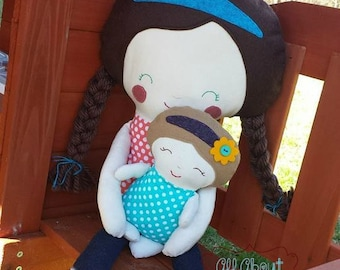 Baby doll - Mommy doll - Baby doll set - Mommy and me dolls - Baby wearing dolls - Plush doll set - Handmade baby doll - handmade mommy doll
