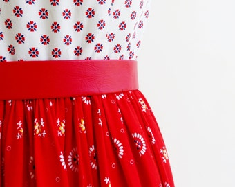Vintage Dress / 1960s Dress / 60s Dress Maxi Dress / Red & White Dress Sleeveless Dress Cotton Dress Long Dress / Nautical Dress Sailor