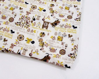Vintage 1950s Kitchen Fabric  / Novelty Print Yardage Hens Birds in Yellow & Brown