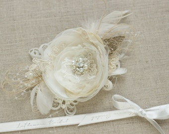Bridal hair flower Bride hair accessory Wedding hair piece Bridal Hair piece burlap hair flower Wedding headpiece wedding hair accessory