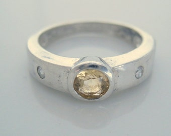 Vintage 80s Sterling Silver 925 Band Ring With Citrine and Tiny White Topaz Accents Size 7