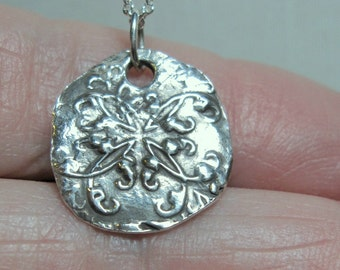 Fine Silver PMC Coin-Style Pendant Necklace on Sterling Silver Chain