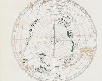 1848 Antique MAP print.  Antarctic polar region, Original antique