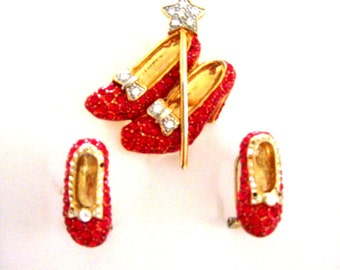 Fabulous Rhinestone Ruby Slippers Brooch and Earrings Set - Vintage Red Rhinestone Wizard of OZ Ruby Slippers Pin and Earrings