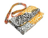 Mini Messenger Bag, Crossbody Bag, Woman's Cross Body Bag, Handmade Pocketbook, Premier Prints Blooms Slub Chili Pepper, Gray Orange Bag