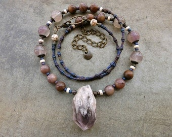Rough Amethyst Crystal Necklace, long rustic tribal or Bohemian purple gemstone jewelry with February birthstone point