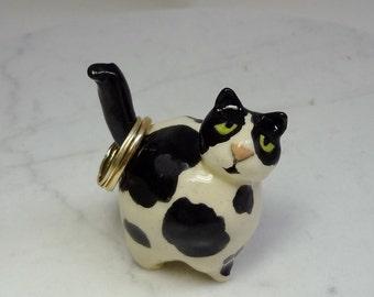 Pottery Cat Ring Holder - Cat Ring Holder - Black and White Cat - Cat Figurine - Pottery Animal - Peggy Hamlin - Clay Cat - Ceramic Cat