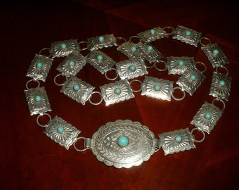 RARE Vintage Sterling Silver Stamped Mini Concho Belt with Turquoise Cabochons 1940 Mexico Original Classic