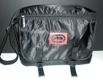 Mens messenger bag, black nylon, zippered top, adjustable webbed strap, padded, cross body,mens gifts under 20