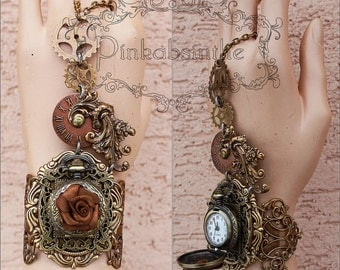 Rose Spiked gears cuff or set cuff and octopus necklace, cuff and key hole choker by promo price