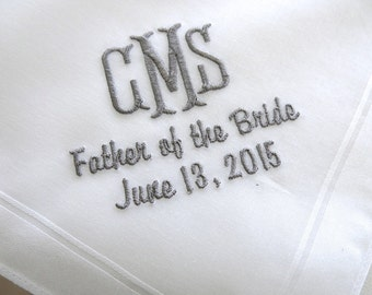 Mens Cotton Handkerchief with 3-Initial Monogram, Father of the Bride and Date