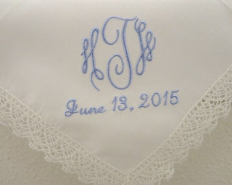 Wedding Handkerchief:  Ivory color cotton Lace Handkerchief with 3-Initial Monogram and Date
