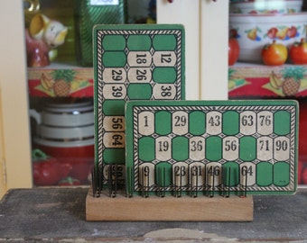 Antique Bingo Cards, Old Green Number Cards, Collectible Paper Ephemera, Vintage Game Cards, Lotto, Deco Numbers, Green Bingo Cards