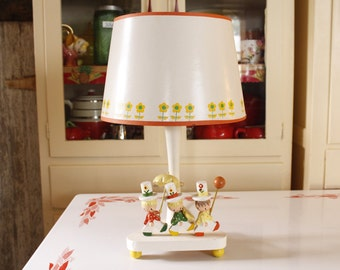 Vintage Irmi Nursery Lamp with Original Shade, 1970's Childs Novelty Light, Whimsical Marching Band, Baby Lamp, Nursery , Orange and Yellow