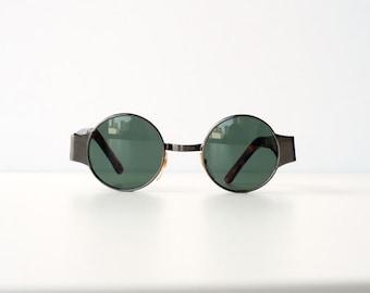 Vintage 80s 90s Steam Punk Metal Small Circle Tortoise Silver Sunglasses