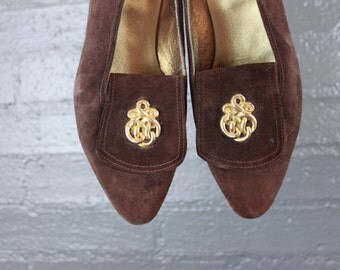 Vintage Brown Leather Loafer like Flats Shoes by Yellow Cake