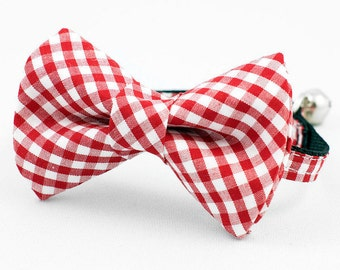 Red Gingham Bow Tie Cat Collar