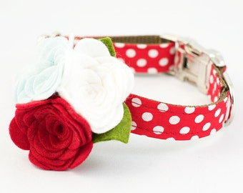 Dog Flower Collar - Red Polka Dot