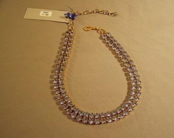 Vintage Trudelle Laker Canada Designer Blue Rhinestone Choker Necklace Yellow Gold Tone 7951