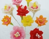 Miniature Polymer Clay Supply Cactus Flowers for Dollhouse and Gifts, 16 stems, assorted