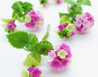Hydrangea, Miniature Polymer Clay Flowers Supply for Dollhouse with set of leaves 6 Bunches