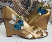 ATREYA Shoe Clips - Peacock Feathers Blue Plumage White Eyelash Rhinestones, Bride Bridal Bridesmaids Wedding Prom Shoes Accessory Gift