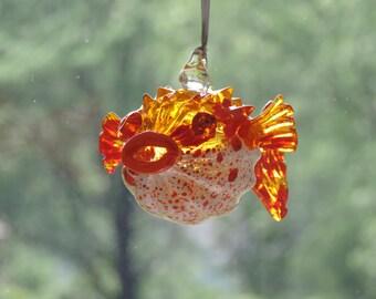 Handblown Red and Orange Glass Puffer Fish