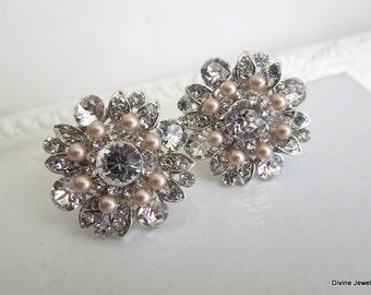 Champagne Pearl Earrings stud crystal earrings Swarovski Pearls Bridal Pearl Earrings Pearl Rhinestone Earrings statement Earrings  COLLEEN