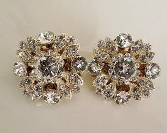 Bridal Earrings Clip On Earrings Vintage Style Rhinestone Earrings Statement Earrings Wedding Rhinestone Earrings Bridal Jewelry COLLEEN