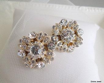 Bridal crystal Earrings, Stud bridal Earrings, Bridal Rhinestone Earrings, swarovski Stud Earrings, statement crystal earrings, COLLEEN