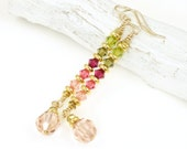 Gold Earrings Crystal Jewelry Rose Pink Avocado Romantic Jewelry Delicate Tall Dangle Earrings Ombre Sparkling, Sweet, Pretty Earrings
