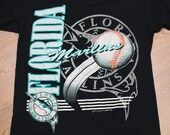 Florida Marlins Logo T-Shirt, Inaugural Year, Made in USA Miami, Vintage 90s