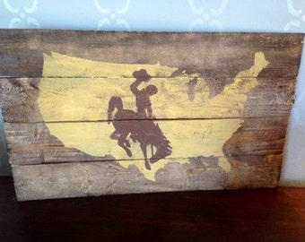 Wyoming Cowboys style Wood Decor University of Wyoming, State of Wyoming Pride, Home Decor Wyoming flag Go Pokes USA