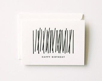 Birthday Candles - Letterpress Printed Greeting Card