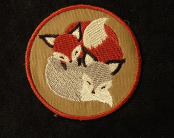 """Cuddle Foxes Iron on Patch 3.5"""""""