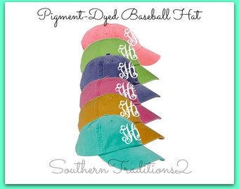 Monogram Baseball hat  - Ladies baseball hat - Pigment dyed hat