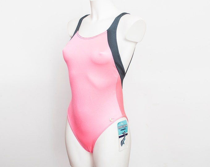 swimmsuit 90s neon pink and grey NOS Vintage