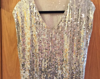 Vintage Silver Sequin 1970s Disco Top SALE!!!!