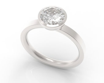 Sterling Silver Bezel Solitaire Engagement Ring