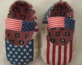 ORDER BABY Shoes, American Flag, USA, Patriotic July 4th, Hero, Military, Boy baby shoes, Red White Blue, Flag, Holiday baby shoes