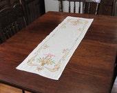 Vintage Hand Embroidered Orange Gold Floral Basket Cotton Linen Table Runner Dresser Scarf