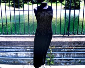 Vintage Black Velvet Ankle Length Bodycon Dress with Micro Jewel Constellation by Ronnie Nicole® Women's Medium