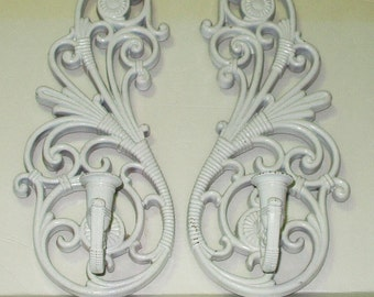 Vintage Homco Wall Sconce Pair Home Interiors Candle Sconce Pair Retro 70s Shabby Cottage Decor White Candle Sconce
