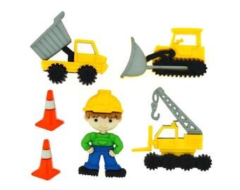 Buttons Jesse James Work Zone Traffic Construction Crew Novelty Button Set Boy Boys Kids Children